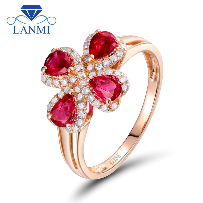 Flower Shaped Ruby Rings Engagement Rind Pear Cut 3.3×4.3mm Gemstone In 18K Rose Gold Diamond Jewelry for Lady WU144