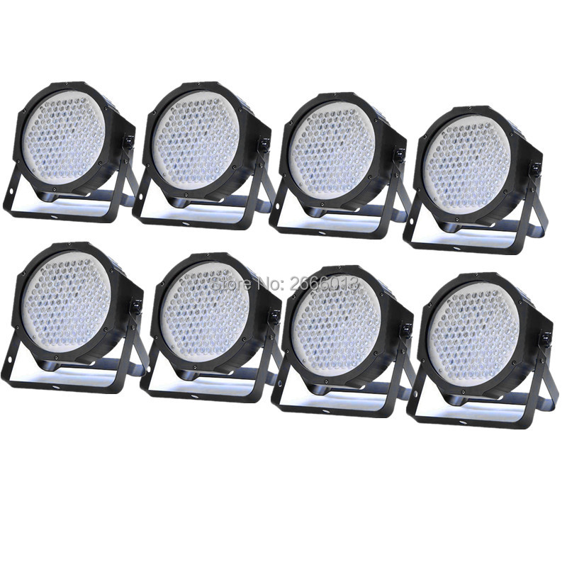 8pcs/lot 127 LED FLAT PAR Stage Lighting Music Active DMX512 PAR CAN Spotlight Club DJ Party Disco LED wash wall effect lights 2xlot sales 2016 led par light 7x15w rgbwa 5in1 100w dj disco dmx stage lights par can led effect club party lighting free ship