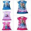 Hot 2015 dos desenhos animados vestido de princesa Elsa roupas, Crianças camisola, Menina sleepwear, Anna princesa, Moda camisolas frete grátis