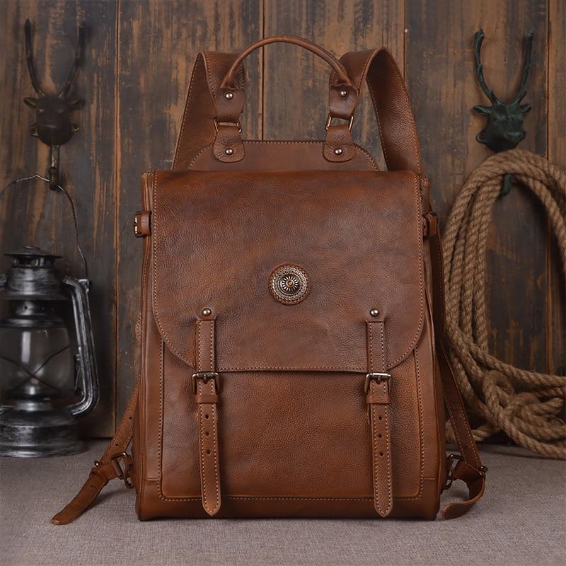 Nesitu Vintage Brown Vagetable Tanned 100% Guarantee Real Skin Genuine Leather Women Men Backpack Woman Backpacks #M9081 maxdo vintage brown 100