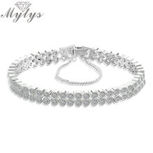 Mytys AAA Level Cubic Zircon Tennis Bracelet Double Chain Fashion Jewelry for Women Gift Support Drop Shipping B1085