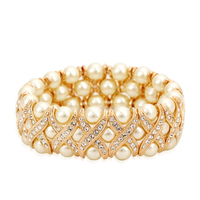 ZYH167 Imitation Pearl Elastic 18K Rose Gold Plated Bracelet Jewelry Made With Genuine Austrian Crystals Wholesale