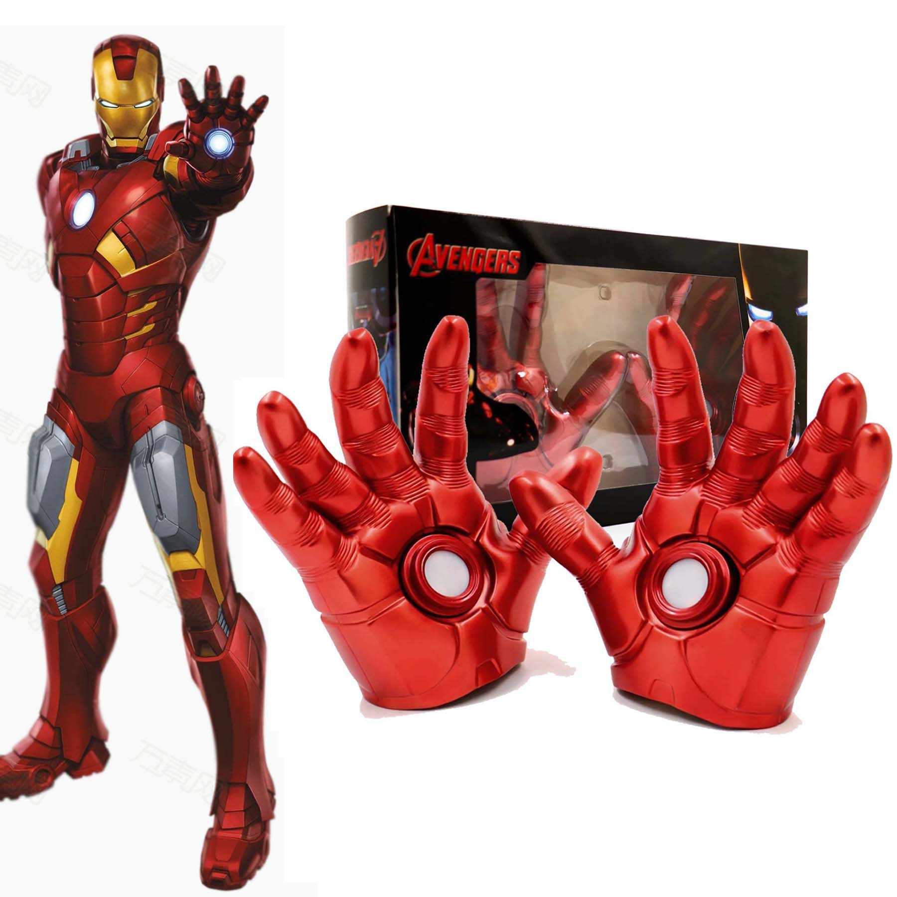 Marvel avengers idade de ultron cosplay homem de ferro luva com luz led pvc brinquedos figura ação móvel para crianças adulto crianças brinquedo