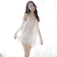 2019 European and American womens sexy underwear dress transparent lace hollow ladies pajamas erotic