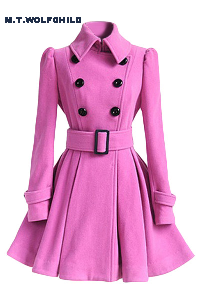 2017 Women Autumn Winter Coats Jackets Long Slim Skirt Wool Coat With Belt Casual Double Breasted