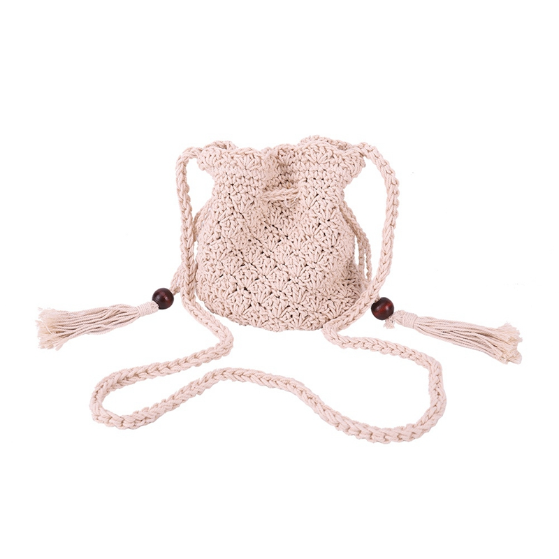 2018 Fashion Style Bucket Cylindrical Straw Bags Wheat-straw Woven Crossbody Bags Handmade Shoulder Tote Bag