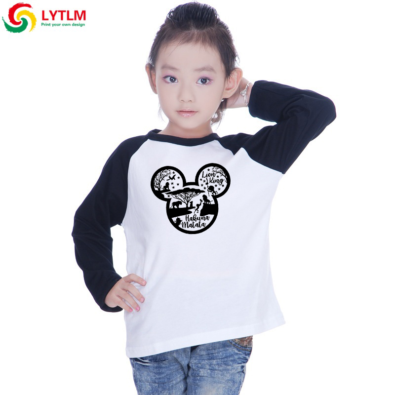 LYTLM Fall 2019 Baby Girl Clothing Hakuna Matata Girls Shirts 10 12 Year Rey Leon T-shirts Kids Tshirt With Spandex Long Sleeve(China)
