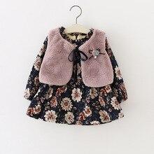 Bébé filles vêtements Automne/hiver 2 couleurs à manches longues robe à fleurs + gilet 2 pcs/ensembles