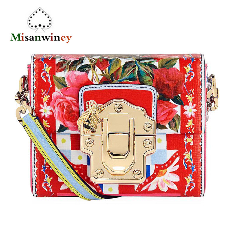 Misanwiney Luxury Handbag Women Bags Designer Summer Genuine Leather Clutch Cow Leather Lady Print Flower Shoulder Messenger Bag