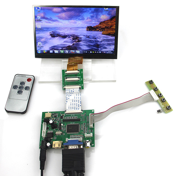 HDMI VGA 2AV LCD Controller Driver Board + 7inch IPS EJ070NA-01 1024x600 1024*600 LCD Display + Adapter cable 50 PIN to 40PIN hdmi vga 2av lcd controller board work for 7inch hsd070pww1 ips lcd panel