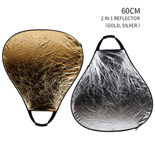23.6 Inch 60cm 2-in-1 Collapsible Multi Photography Portable Handheld Triangle Reflector Silver/Gold or Silver/White Optional