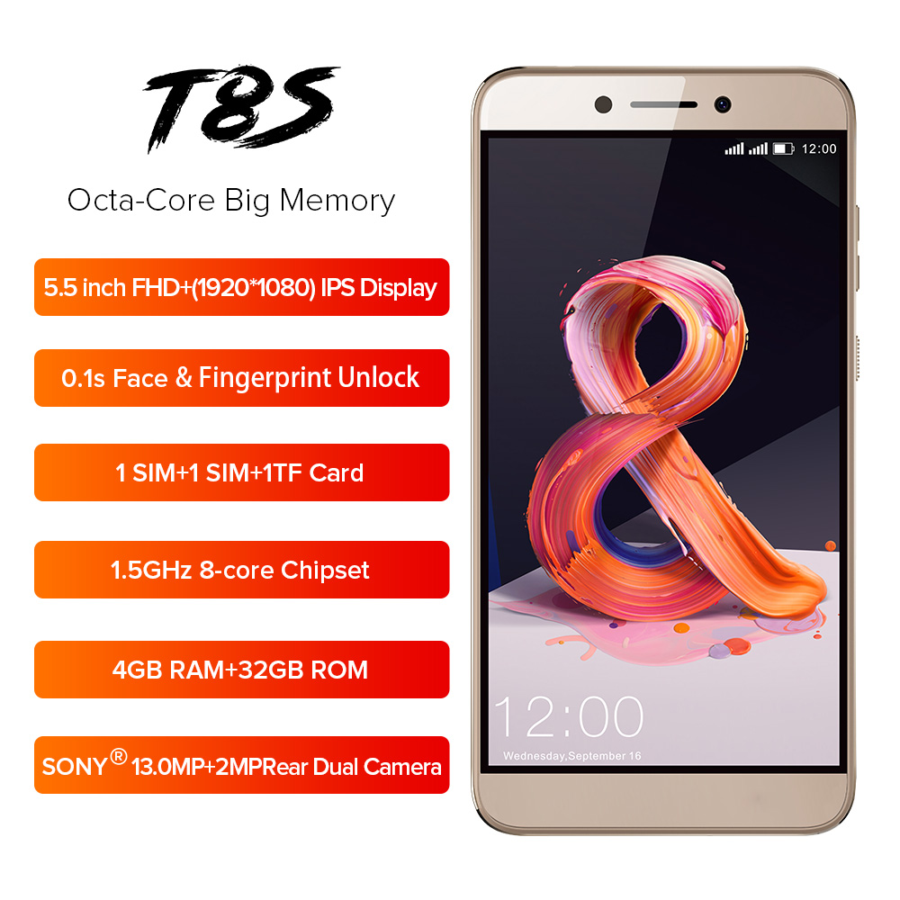LEAGOO T8s 5.5'' FHD Incell Mobile Phone Android 8.1 4GB 32GB MTK6750T Octa Core 3080mAh 13MP Dual Camera Face ID Smartphone OTG