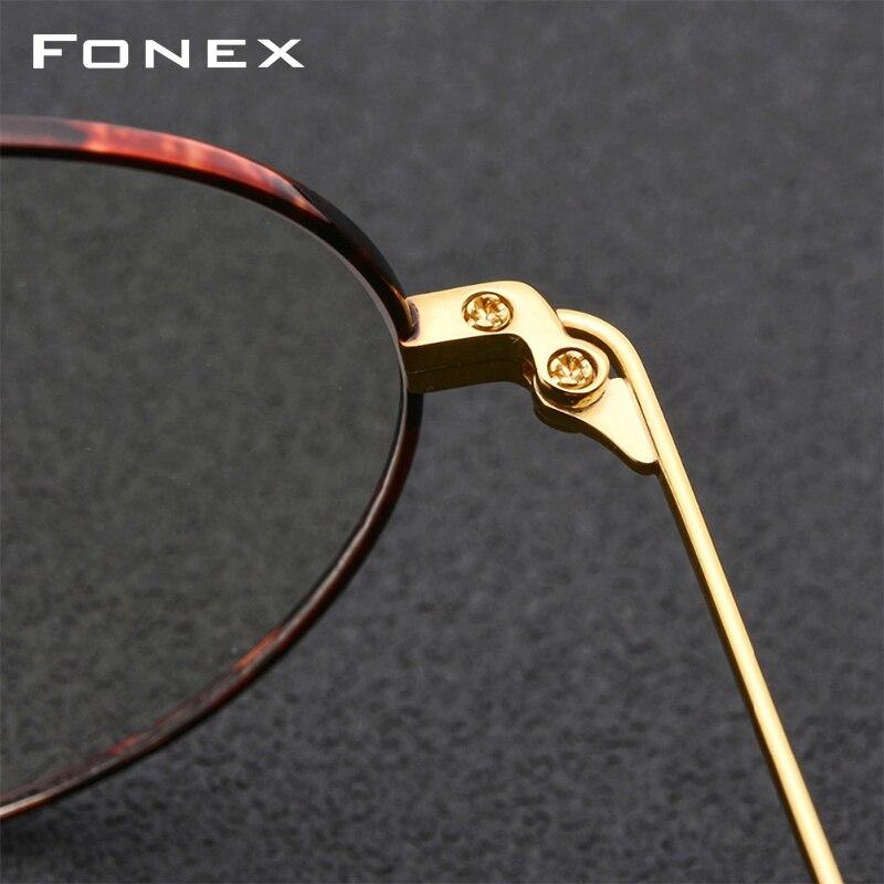 Titane pur lunettes cadre hommes rond Prescription lunettes lunettes Vintage rétro myopie optique lunettes femmes lunettes - 4
