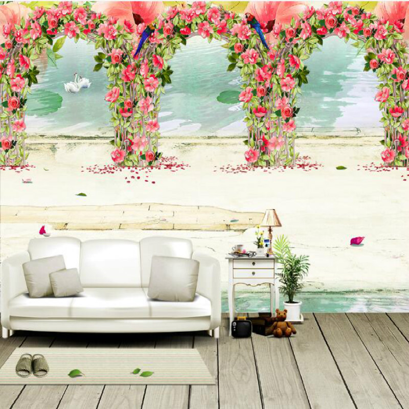 European-style garden romantic garden flowers  birds large-scale murals wallpaper living room bedroom painting TV wallpaper royal noble roses simulation flowers european living room large flower rose home decoration flowers