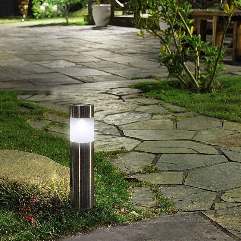 6PCS/lot Solar Outdoor Garden Path Lawn Light Stainless Steel Solar Bollard  Light Warm White