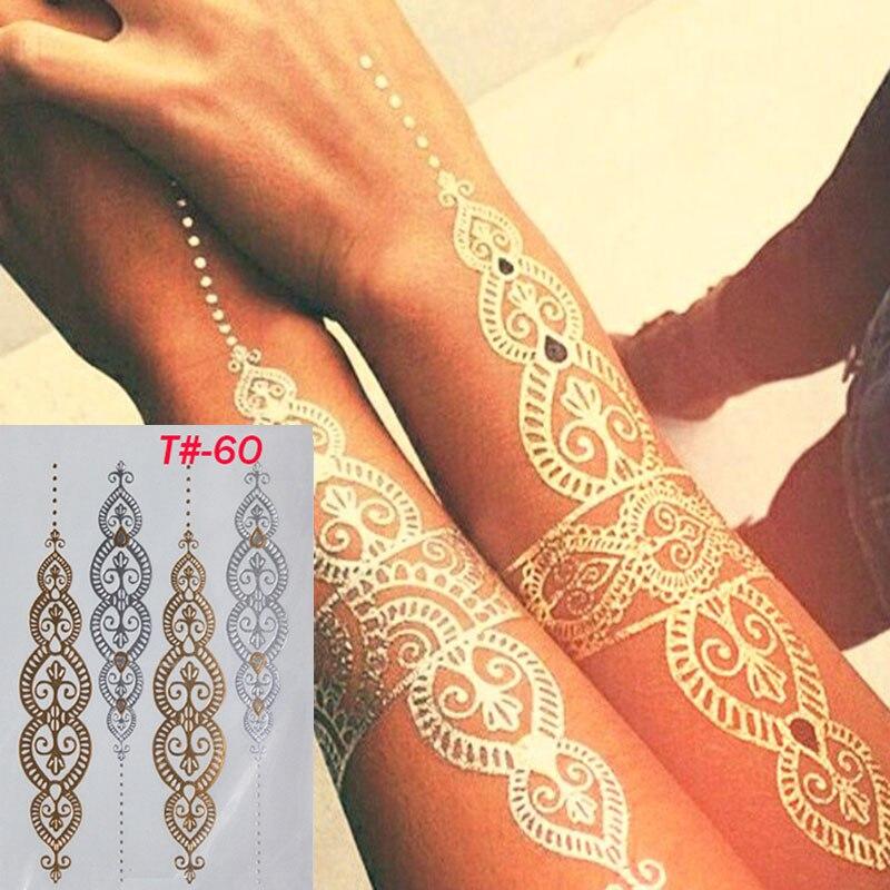 2017 Сделай Сам Мода Временная татуировка блестящие золотые тату-наклейки сексуальное тело красавица браслет тату Водонепроницаемый горячего тиснения