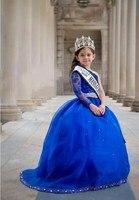 Одно плечо Бусины маленьких Обувь для девочек Нарядные платья королевский синий с длинным рукавом бальное платье Строгая детская одежда 2017