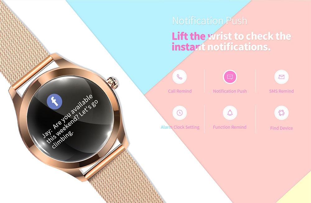IP68 Waterdicht Smart Horloge Vrouwen Mooie Armband Hartslagmeter Slaap Monitoring Smartwatch Verbinding Ios Android KW10 Band 4