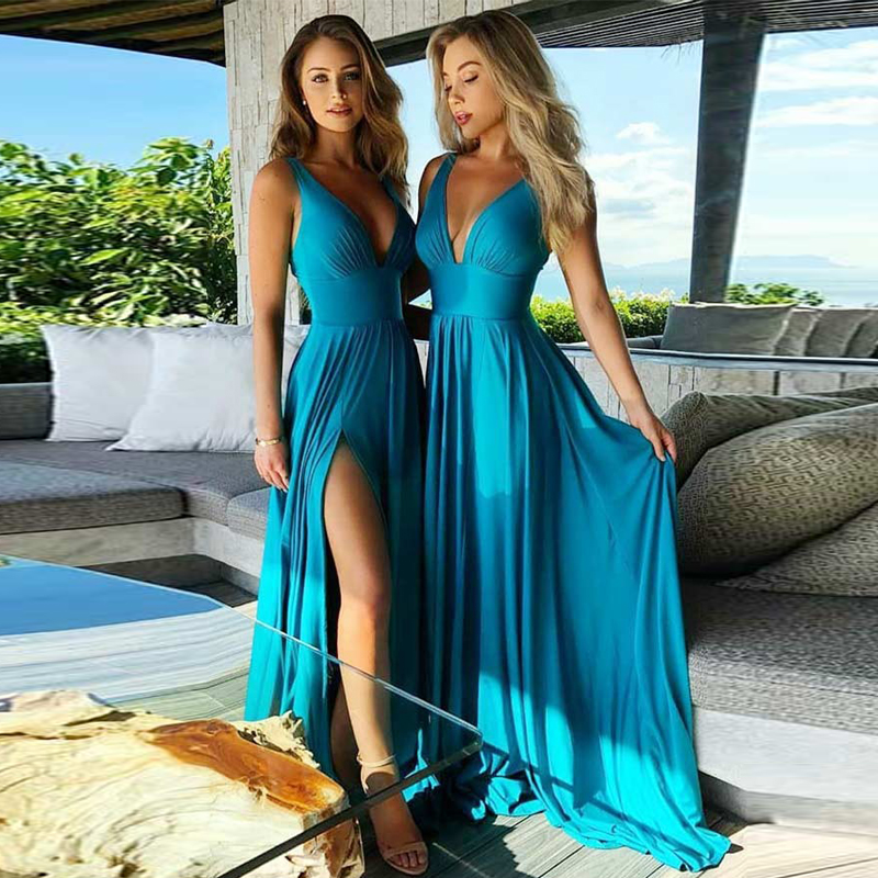 robe demoiselle d'honneur Chiffon   Bridesmaid     Dresses   Sexy Backless Long   Bridesmaid   Gowns V Neck vestidos largos