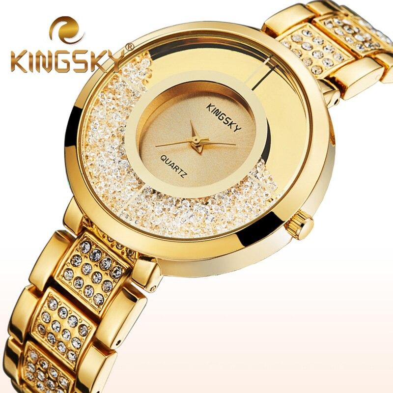 Prix pour Femmes Montres Quartz Montres Femmes Marque De Luxe Dames Or Argent Strass Montre Reloj Mujer Horloge Faux Diamant