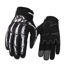 Unisex Women Men Motorcycle Cycling Gloves Personalized Skull Skeleton Goth Racing Full Finger Gloves Windproof Gloves New
