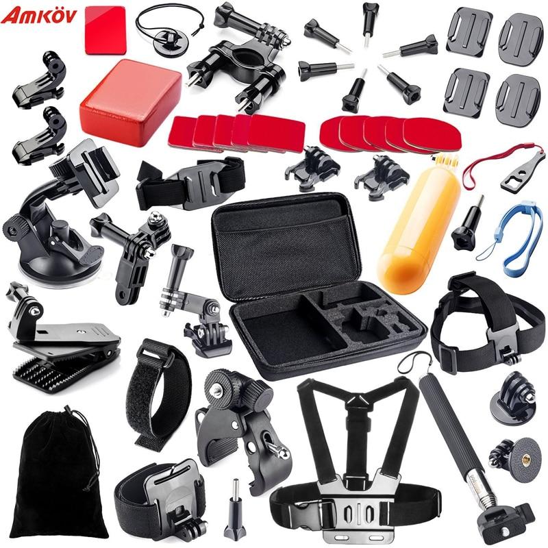 Action caméra accessoires set grande Collection boîte monopode pour go pro hero 5 4 3 kit de montage pour SJCAM pour SJ4000/pour xiaomi