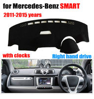 Car dashboard covers mat for Mercedes Benz SMART 2011 2015 with clock Right hand drive dashmat pad dash cover auto accessories