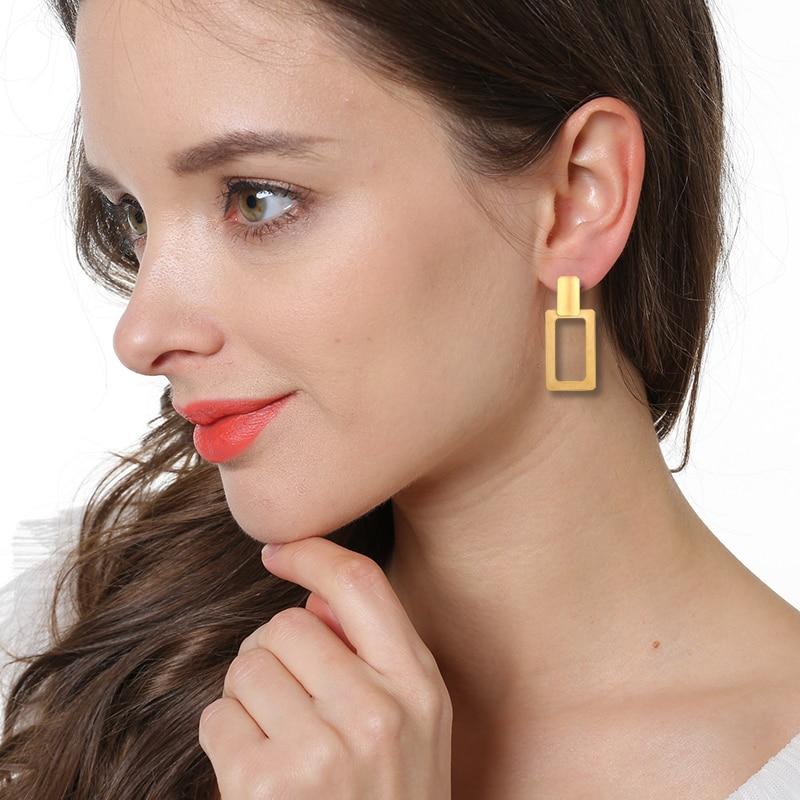QOOKOO I Minimalist Large Big Statement Earrings Gold 2018 Geometric Rectangle Earring Vintage Drop Earrings For Women Jewelry
