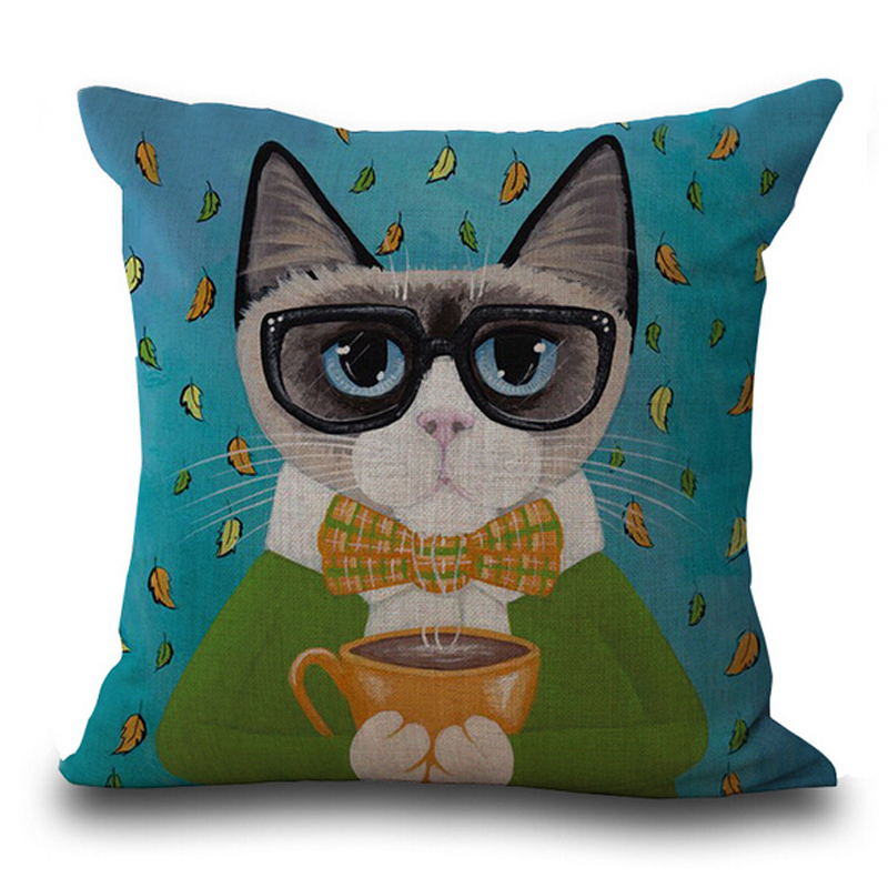 Cartoon Cute Cat Pillow Cover Skull Cushion Covers Animal Pillow Case for Home Sofa Decorations Pillowcase chic tropical plants and toucan pattern flax pillowcase without pillow inner