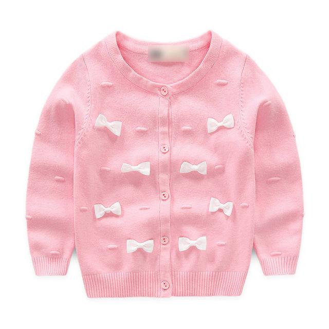2016 nova menina casaco cardigan camisola das crianças da menina Primavera e No Outono jaqueta casaco camisola de algodão crianças/crianças casaco para 1-4Y