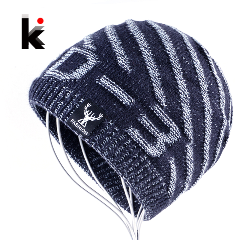 Winter Warm knitted Hats For Men Women Knitting Striped Skullies And Beanies Caps Fashion Casual Hip Hop Bones Gorros Inverno fashion fold knitting hat toucas skullies beanies men winter women hats hip hop gorros outdoor warm headwear girl ear protection