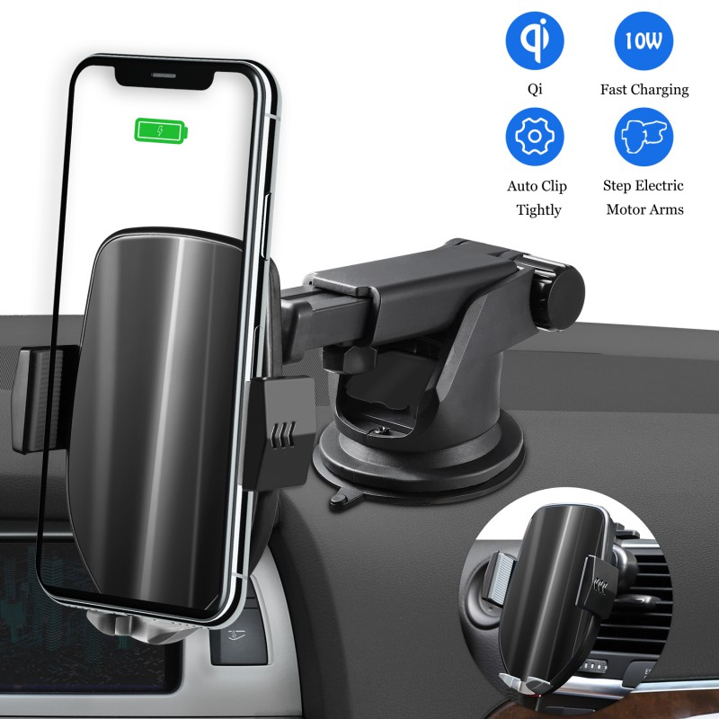 Wireless Car Charger Automatic Clamping 10W Qi Fast Charging Compatible for iPhone Samsung Qi-Enabled Phones Car Holder(China)
