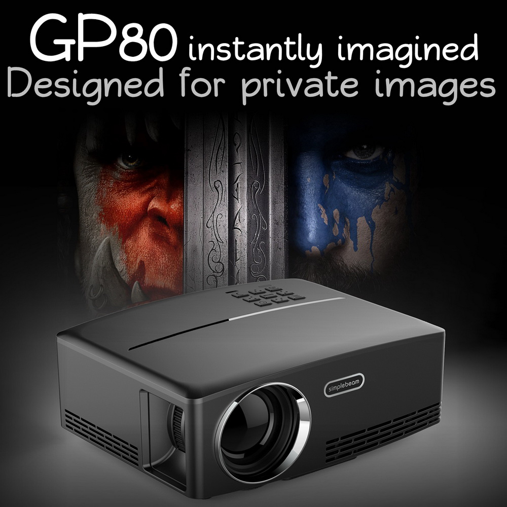 GP80 Mini LED Projector 1800 Lumens Portable Multimeida Video Projector for Movie Games,Home Theater Beamer HDMI USB
