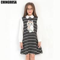 ca0bf5b108 CHINGROSA Black Cartoon Owl Sequined Striped Girls Dresses Princess Autumn Dresses  Girls Clothes Kids Clothing Vestidos