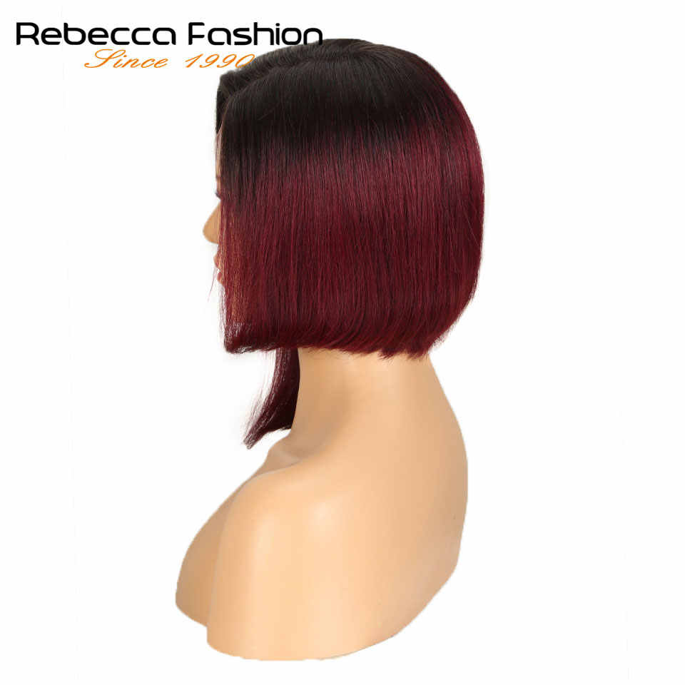"Rebecca Left Side Part Ombre Lace Front Human Hair Wigs For Black Women Brazilian Remy Straight Hair Short Bob Wig 12"" Free Ship"