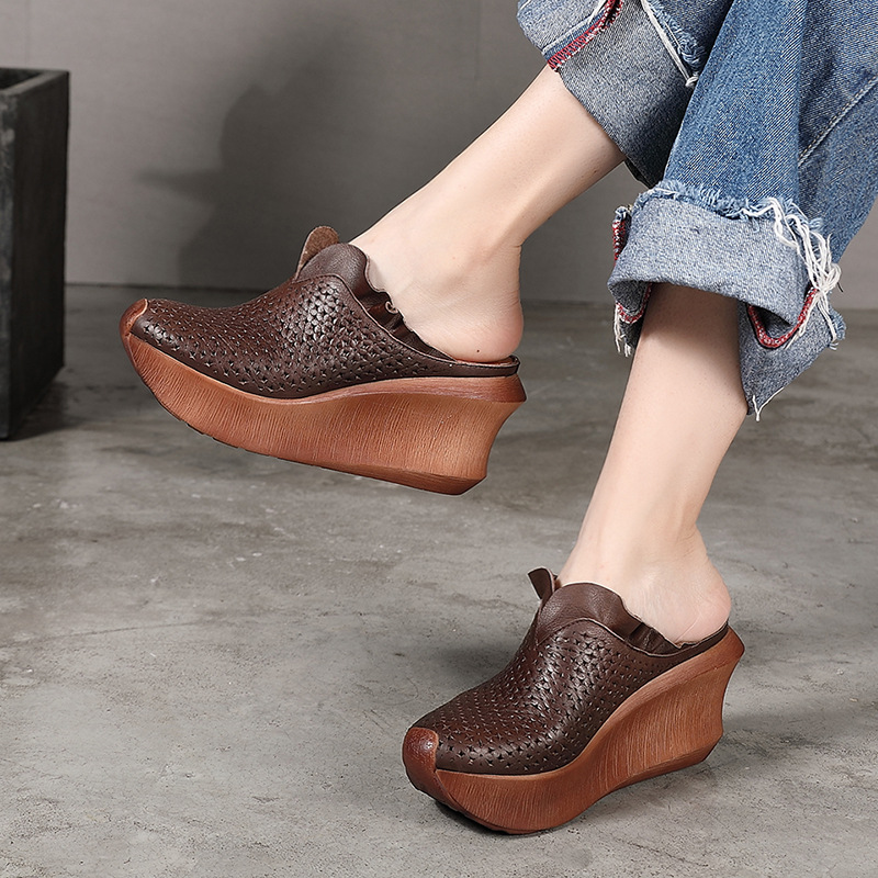 Artdiya Leather women shoes leisure ethnic cool drag vintage hollow muffin wedge slippers handmade women's shoes explosions