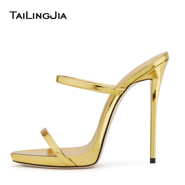 a281ea32a736 2018 Women Two Straps High Heels Rose Gold Patent Leather Strappy Sandals  Ladies Cute Shoes Sexy Mules Stiletto Dress Shoes