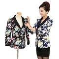 Среднего Возраста Женщины Цветочные Пиджаки Для Женщины Slim Fit Куртки Плюс Размер Куртки Mujer Elegantes Bleiser Бизнес Случайный Костюмы