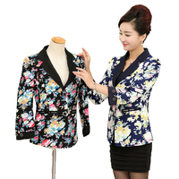 Middle Aged Women Floral Blazers For Womans Slim Fit Jackets Plus Size Chaquetas Mujer Elegantes Bleiser