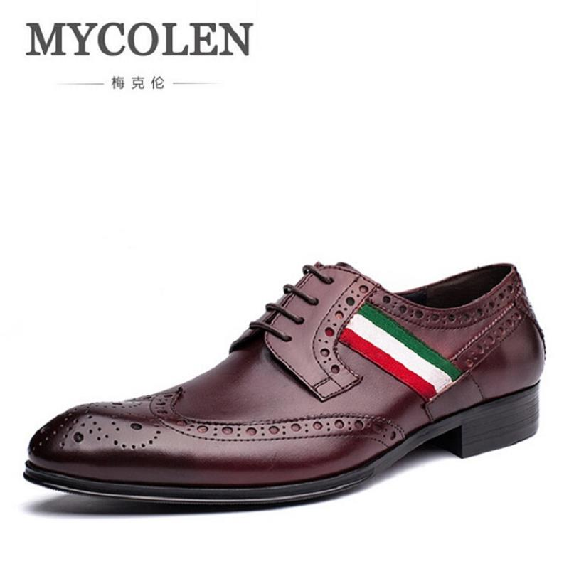 MYCOLEN Genuine Leather Brogue Business Men Shoes Classic Office Wedding Formal Mens Shoes Oxford Italian Leather Dress Shoe farvarwo brogue shoes mens dress genuine leather oxford black