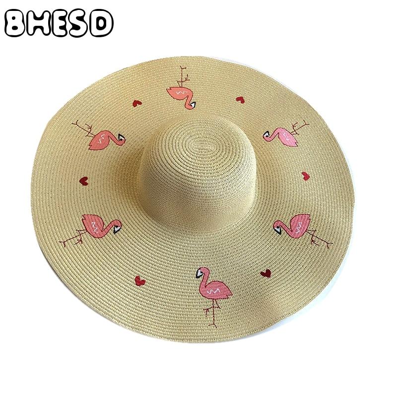 BHESD 2017 Flamingo Straw Hat Women Large Brim Floppy Beige beach Hat  Female Embroidery Sun Hat Summer Sun Cap Gorro Bone JY 487-in Sun Hats from  Apparel ... 88f86a2d924f