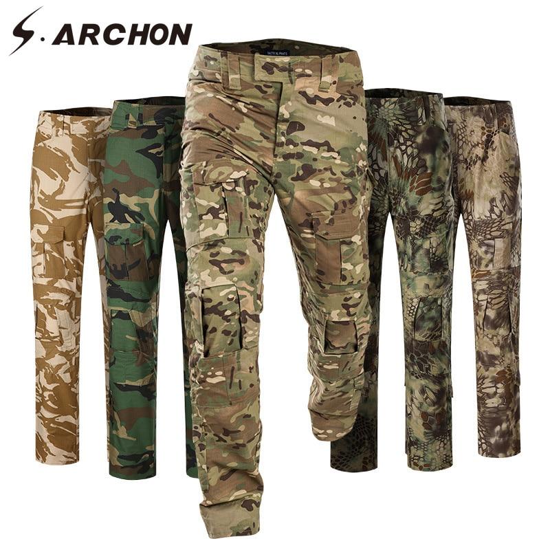 S. ARCHON taktyczne kamuflażu spodnie mężczyźni bawełna szybkie pranie bojówki wojskowe cargo elastyczne na co dzień SWAT wojskowe spodnie bojówki w Spodnie nieformalne od Odzież męska na  Grupa 1