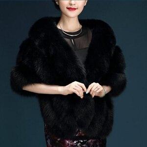 Image 3 - Janevini 고품질 짙은 회색 신부 가짜 모피 shawls 결혼식 볼레로 겉옷 재킷 신부 겨울 케이프 결혼식 저녁 포장