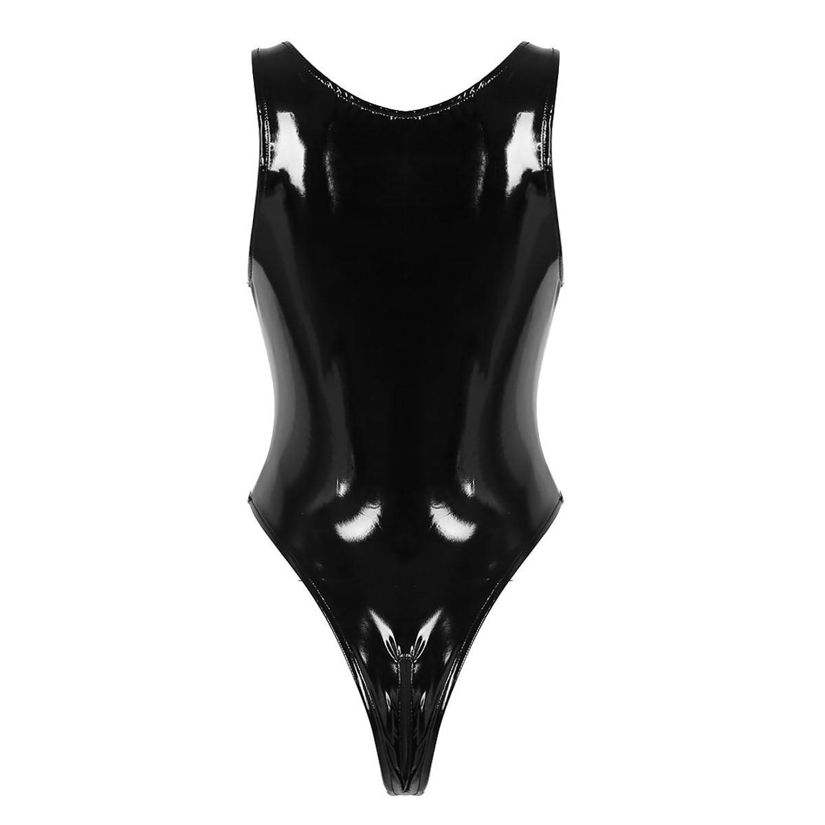 Womens Lingerie Sexy Bodysuit Open Crotch Zipper Bodystocking Sissy Bust Latex See-through Babydoll High Cut Teddy Body Suit 2