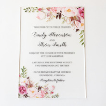 Rustic Watercolor Style 5x7inch Frosted Acrylic Wedding Invitation Cards 100 Pieces Per Lot