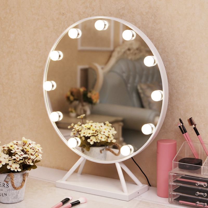 LED round makeup mirror with base Nordic style home large desktop decorative vanity standing mirror with