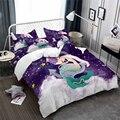 Фиолетовый  синий комплект постельного белья с рисунком Русалочки  пододеяльник с принтом якоря  покрывало для кровати  наволочка принцесс...