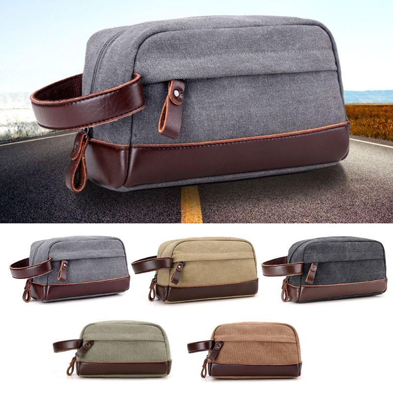 Men Travel Canvas Toiletry Bag Wash Shower