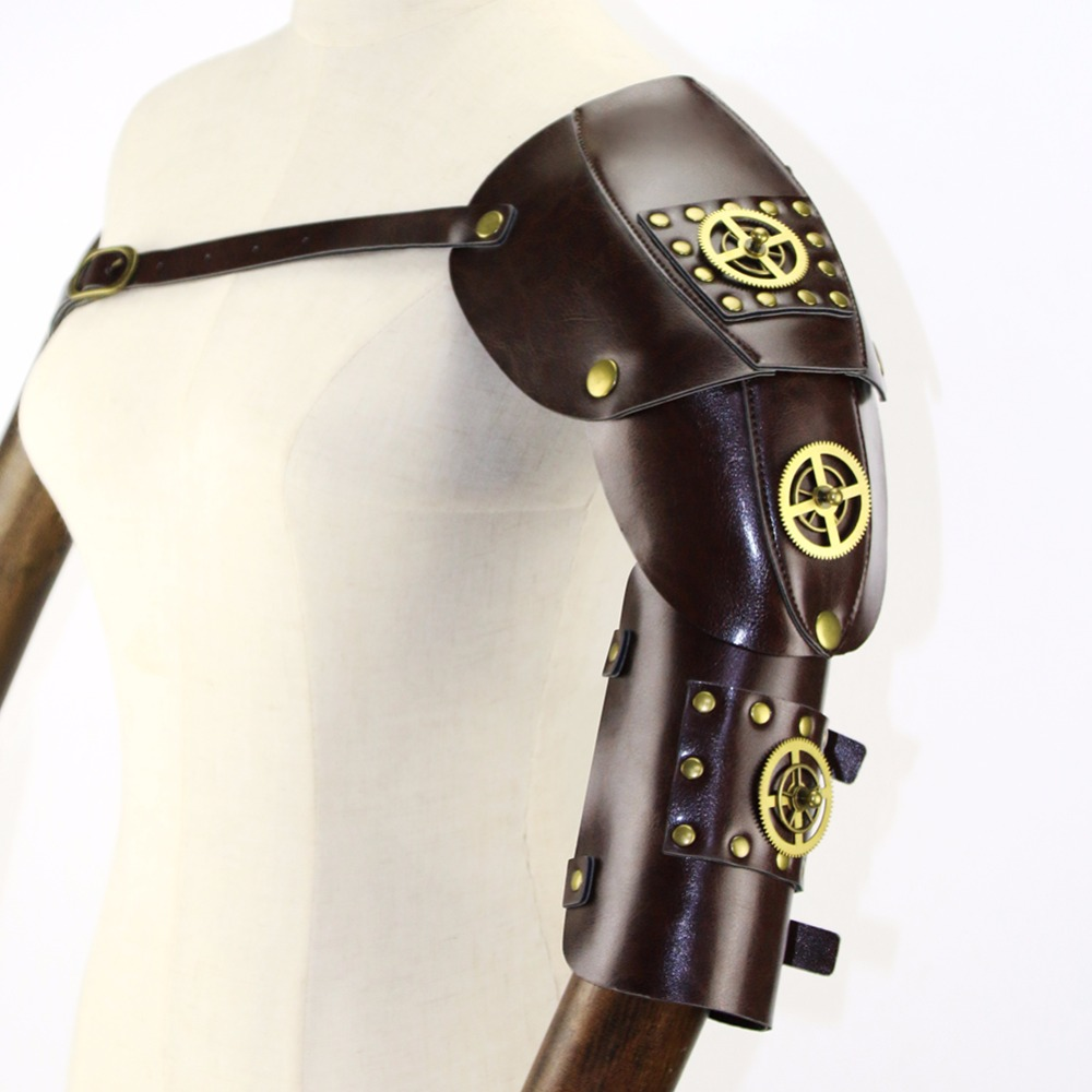 Gear Duke Brown PU Leather With Gold Gearwheel Vintage Steampunk Arm Armor Anime Cosplay Props Halloween Party Accessories