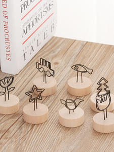 Clip Pendant-Holder Note-Picture-Frame Table-Number Memo Name-Card Wooden Round Creative